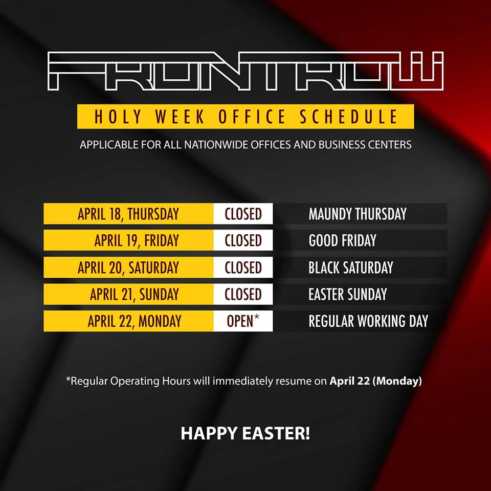 holly week operating sched - frontrow